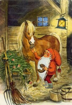 Irma Salmi, Christmas card 10 x Finland Swedish Christmas, Old World Christmas, Scandinavian Christmas, Xmas Elf, Christmas Gnome, Christmas Art, David The Gnome, Kobold, Elves And Fairies