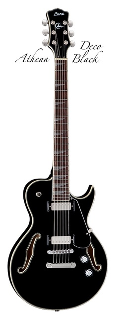 LUNA Guitars  Black Deco Athena Electric Guitar