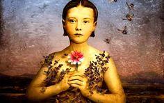 Girl in a Bee Dress - Maggie Taylor – Daily Art Fixx Ghost Whisperer, Digital Collage, Digital Art, Collage Art, Jerry Uelsmann, Maggie Taylor, Photomontage, Bee Art, Foto Art