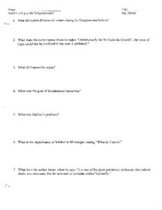 age of enlightenment characteristics of the enlightenment and  age of enlightenment what led up to the enlightenment worksheet reading and key