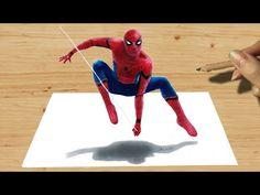Dibujo en 3D Spiderman, truco de arte dibujar héroes - YouTube