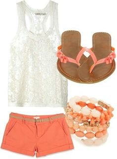Coral shorts with coral beaded bracelets, coral-coloured leather thongs, white translucent bracelet, and bright, shimmery tank top. For Australia.