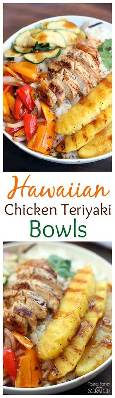 Grilled Hawaiian Chicken Teriyaki {use gluten free soy sauce} Bowls with coconut rice and grilled pineapple on TastesBetterFromScratch.com