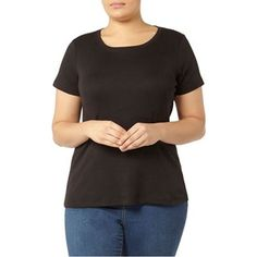Evans Black short sleeve t-shirt | Debenhams