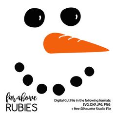 Snowman Face with Carrot Nose SVG, EPS, dxf, png, jpg digital cut file for Silhouette or Cricut - Christmas or Winter Crafts Silhouette Cameo Projects, Silhouette Design, Free Silhouette, Silhouette Studio, Vinyl Crafts, Vinyl Projects, Christmas Vinyl, Christmas Crafts, Christmas Countdown
