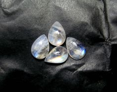 4 pcs lot of Blue Flashy Rainbow Moonstone by finegemstone on Etsy, $27.00 #10x7mm #round #rainbowmoonstone #moonstone #cabochons #gemstone #loosestone