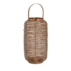Harper Copper Painted Lantern - Large - Textural twist: A large metal lantern with Asian influences is trend-right for the times in a copper paint finish.