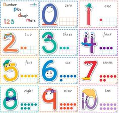 Number Play Dough Mats Modern Cursive Print