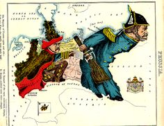 """Satirical map of Prussia by William Harvey (alias Aleph). From Aleph's 1869 """"Geographical Fun, or Humorous Outlines of Various Countries"""" published in London by Hodder and Stoughton."""
