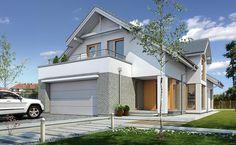 Z Charakterem 1 - wizualizacja 1 - Projekty nowoczesnych domów na wąską działkę z antresolą i garażem dwustanowiskowym