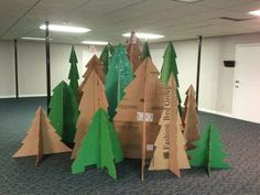 27 Great Ideas for a Camping Classroom Theme Classroom camping themes cardboard tree cutouts Christmas Concert, Office Christmas, Noel Christmas, Christmas Crafts, Christmas Decorations, Camping Decorations, Christmas Plays, Tree Decorations, Christmas Float Ideas