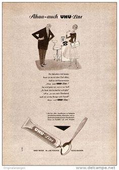 Werbung - Original-Werbung/ Anzeige 1956 - UHU LINE WÄSCHESTEIFE - ca. 120 x 170 mm