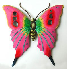Image detail for -Hand Painted Metal Bright Pink Butterfly Wall Art - Caribbean Outdoor ...