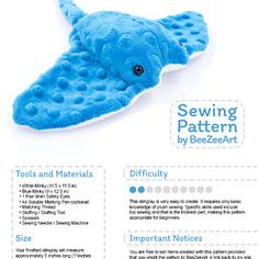 Stingray Plush Sewing Pattern, Stuffed Animal Plushie Plushie Pattern, Digital Download PDF Pattern, Sewing Tutorial, DIY