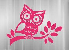 Owl on branch vinyl sticker decal car truck SUV wall hoot wise cute night tree #VinylMayhem