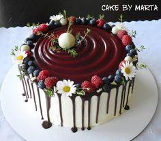 Maliny, voňavé a sladké... torta, Drip torty Fondant, Birthday Cake, Cakes, Fruit, Desserts, Food, Fondant Icing, Birthday Cakes, Meal