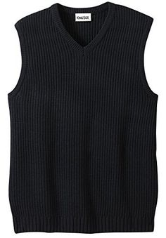 """Product review for Kingsize Men's Big & Tall Shaker Knit V-Neck Sweater Vest.  Wear it with complete confidence over sport shirts or dress shirts. These sweater vests truly go with anything in your wardrobe – they can be worn casually with jeans or dressed up. Pullover with an easy for big and tall guys Long length (30"""" in Big, 34"""" in Tall) gives great..."""