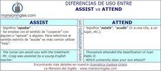 Diferencia en inglés entre Assist y Attend