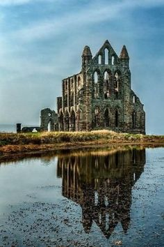 The Whitby Abbey ruins ot the Benedictine abbey in North Yorkshire, England.