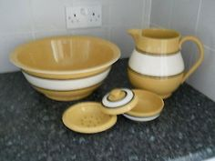 T.G. Green 'Mocha Ware' Group of plain decorated bathroom wares.