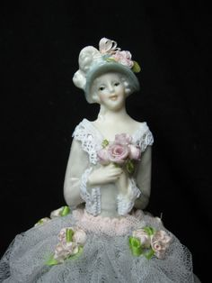New for 2014 a Half Doll Pincushion doll Boudoir Doll Dresser Doll OOAK Art Doll by Kay Brooke.  Dressed in silver grey and pink