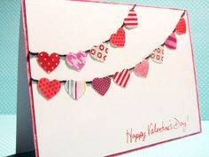 Valentines Day Card - Handmade - Banner of hearts - WildBeanLore - Etsy