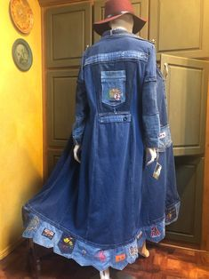 Denim Patchwork, Patchwork Dress, Denim Duster, Duster Coat, Altered Couture, Embellished Jeans, Recycled Denim, Plus Size Maxi Dresses, Vintage Denim