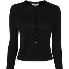 L.K. Bennett Bonnie Black Merino Wool Cardigan ($120) ❤ liked on Polyvore featuring tops, cardigans, black, merino cardigan, cardigan top, merino wool cardigan, merino wool tops and slimming tops