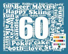 Personalized 60th Birthday Gift Word Art - 60th Birthday - Sixty Birthday 8 X 10 Print - Unique Fun Cute