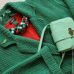 Купить Пальто вязаное нефритовое (цвет снят с производства) - зеленый, пальто женское, пальто