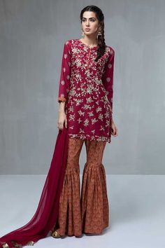Maria B Dubai - Embroidered Pakistani Unstitched Suit with Embroidered Shirt & Gharara Pants is available for SALE. Marron Maria B Pret Wear in Dubai Dresses In Dubai, Eid Dresses, Pakistani Dresses, Indian Dresses, Fashion Dresses, Weding Dresses, Fashion Hub, Fashion 2020, Ladies Fashion