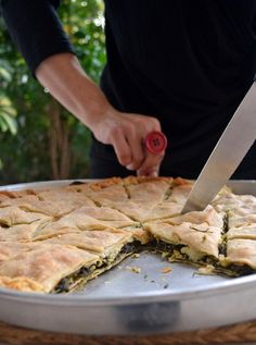 Green herbs pie with homemade fyllo pastry Greek Recipes, Raw Food Recipes, Wine Recipes, Dessert Recipes, Cooking Recipes, Greek Menu, Greek Cooking, Savory Tart, Mediterranean Recipes