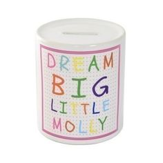 Personalised Dream Big Money Box Pink. £15.95 #DreamBig #MoneyBox #Christening #ChristeningGifts #PersonalisedChristeningGifts