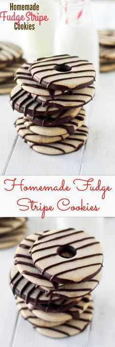HOMEMADE FUDGE STRIPE COOKIES!! Butter, sugar, vanilla, chocolate. Simple ingredients and they taste SO MUCH BETTER than the store-bought kind. Filled my cookie jar with these and they were gone in 2 days.