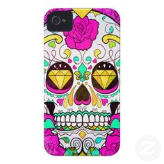 Sugar Skull and Pink Roses iPhone 4 Case