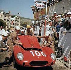 Olivier Gendebien and his Ferrari 250 TR, Targa Florio, Mr. Gendebien won the race that year. Ferrari Racing, Ferrari Car, Sports Car Racing, Sport Cars, F1 Racing, Classic Sports Cars, Classic Cars, Maserati, Bugatti