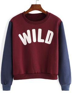 Red Blue Round Neck Letters Prtint Sweatshirt 17.51