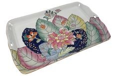 Vintage ceramic tray with a tobacco leaf pattern. Marked: Made in Macau. Staffordshire Dog, Macau, Vintage Ceramic, White Porcelain, Kings Lane, Tray, Blue And White, Leaves, Ceramics