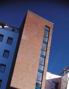 Acrylic brick slips finish - alsecco Brick Facade, Facade Design, Facades, Skyscraper, Multi Story Building, It Is Finished, Traditional, Skyscrapers, Facade