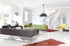 Super Luxurious Modern Interior With Gray Sofa Lime Green Sofa Metal Banister Modern Furniture