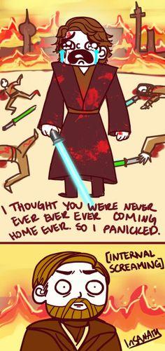 """I was only gone for a few days"" ~Obi-Wan Kenobi Star Wars Clone Wars, Star Wars Art, Star Trek, Anakin Vader, Anakin Skywalker, Darth Vader, Star Wars Love, Star War 3, War Comics"