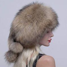 60000740284ce  URSFUR Genuine Raccoon Fur Russian Ushanka Trapper Hat Cap with Fur Ball Pompom  Trapper Hats