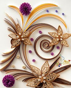 Flowers, quilling, purple