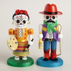 "Our exclusive nutcrackers celebrate the skeleton figures known as ""calacas"" that represent the dead enjoying a happy afterlife. Crafted of hand-painted wood, this cowboy and artist pair adds an eclectic touch to your seasonal decor. Halloween Ornaments, Holidays Halloween, Happy Halloween, Halloween Decorations, Halloween 2015, Nutcracker Sweet, Nutcracker Christmas, Nutcracker Characters, Skeleton Figure"