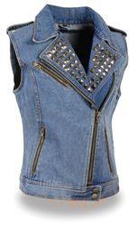Ladies biker style light blue denim motorcycle vest with gun concealment pockets, studded collar detailing and zip front.