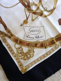 Vintage Black and Gold Equestrian Theme GUCCI Silk Scarf on Etsy, $85.00