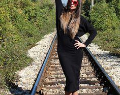 Nero pelle abito maxi Midi autunno inverno di cherryblossomsdress