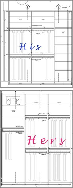 How to plan and design a built in master closet for His and hers wardrobe