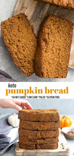 This Keto Pumpkin Bread is soft, tender, moist & full of delicious cozy fall & pumpkin spice flavors! SO easy to make in one bowl & makes the perfect low carb breakfast or afternoon fall snack! Paleo pumpkin bread is also grain free, gluten free, sugar free & diabetic friendly. Only 4 NET Carbs per keto pumpkin toast slice (great for french toast too). Freezer-friendly & works great for meal prep to add to you school or work lunch boxes or a healthy afternoon autumn treat! #p Paleo Pumpkin Bread, Pumpkin Spice, Homemade Pumpkin Puree, Pumpkin Recipes, Fall Snacks, Fall Treats, Quick Bread Recipes, Beef Recipes, Yummy Recipes