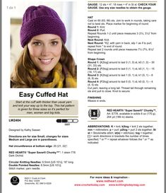 Knit Slouchy Hat Pattern, Beanie Knitting Patterns Free, Knit Headband Pattern, Easy Knitting Patterns, Loom Knitting, Free Knitting, Hat Patterns, Knitting Projects, Knitting Blogs